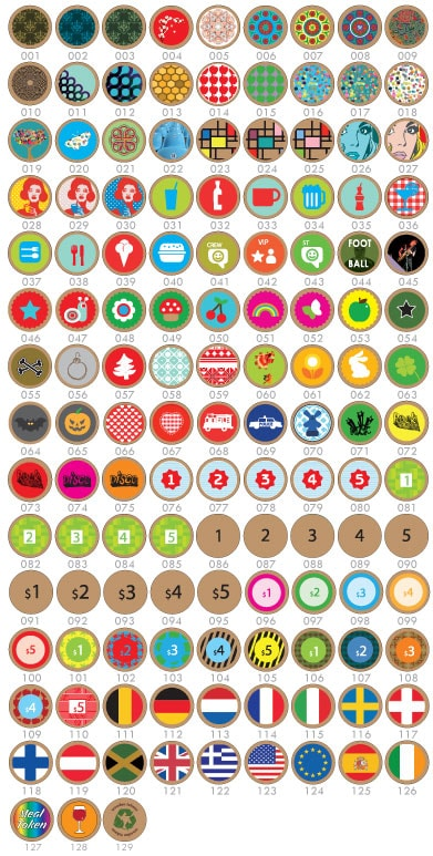 Standard designs that can be printed on wooden tokens